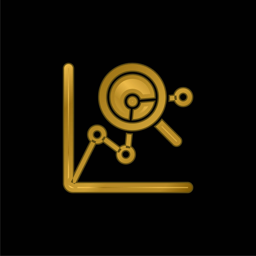 Analytics gold plated metalic icon or logo vector