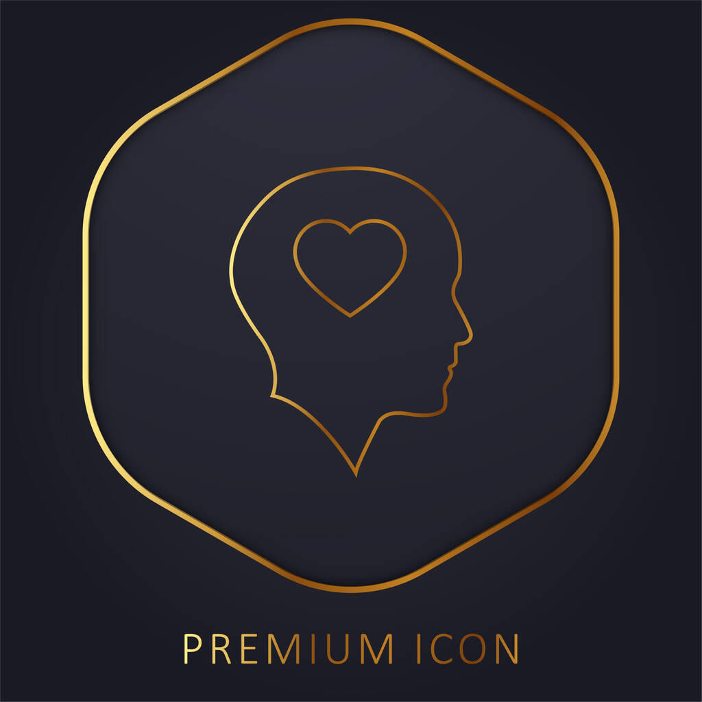 Bald Head With Heart golden line premium logo or icon