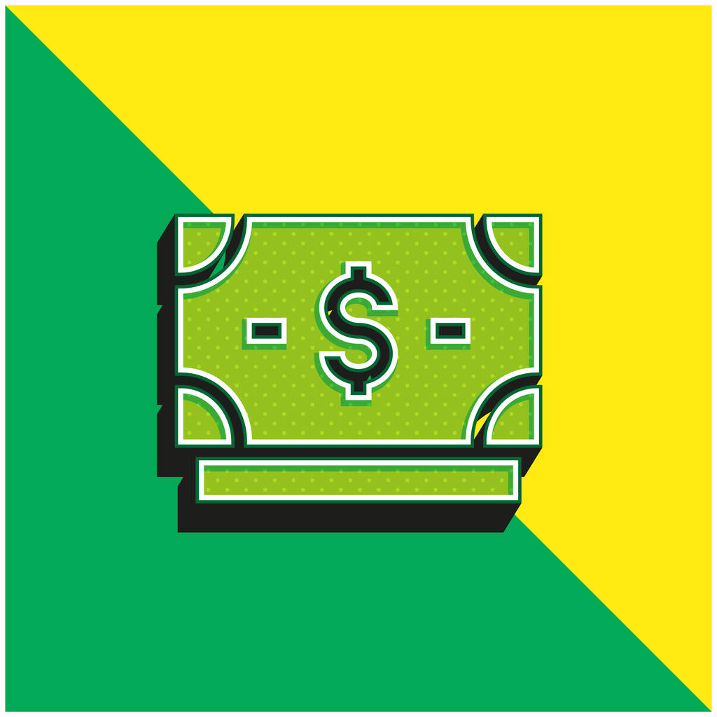 Banknote Green and yellow modern 3d vector icon logo