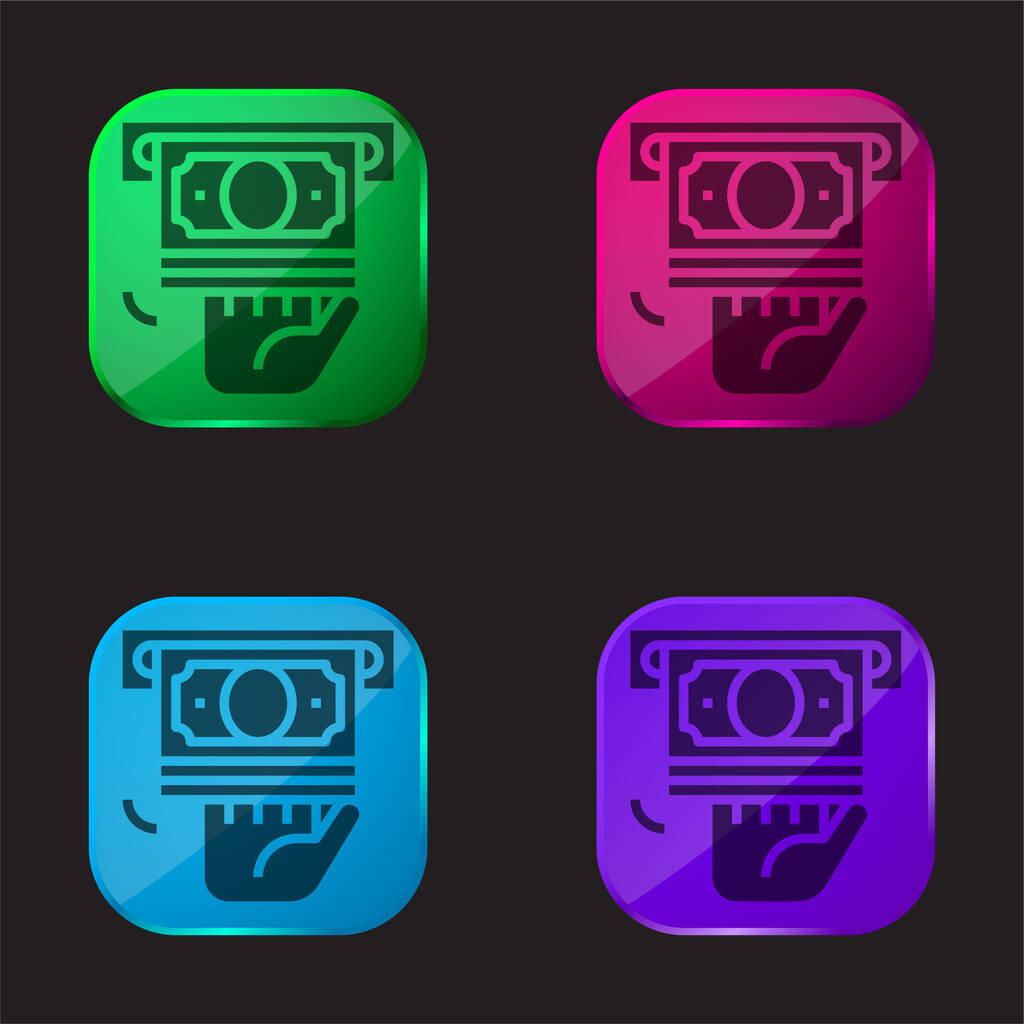 Atm four color glass button icon
