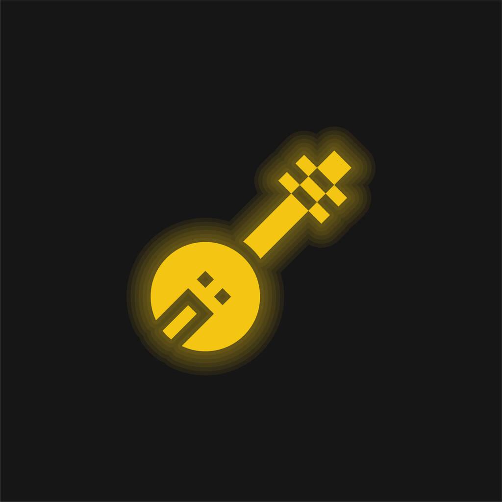 Banjo yellow glowing neon icon