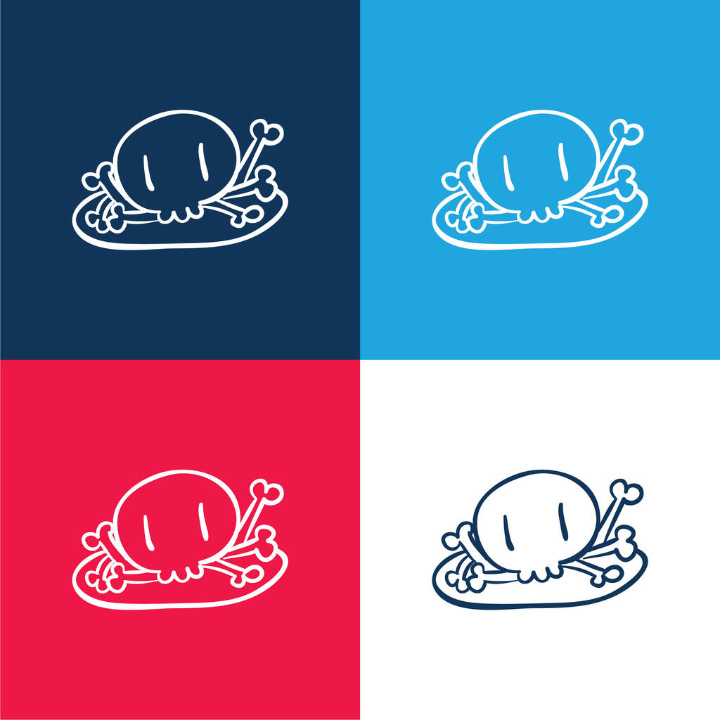 Bones Pile blue and red four color minimal icon set