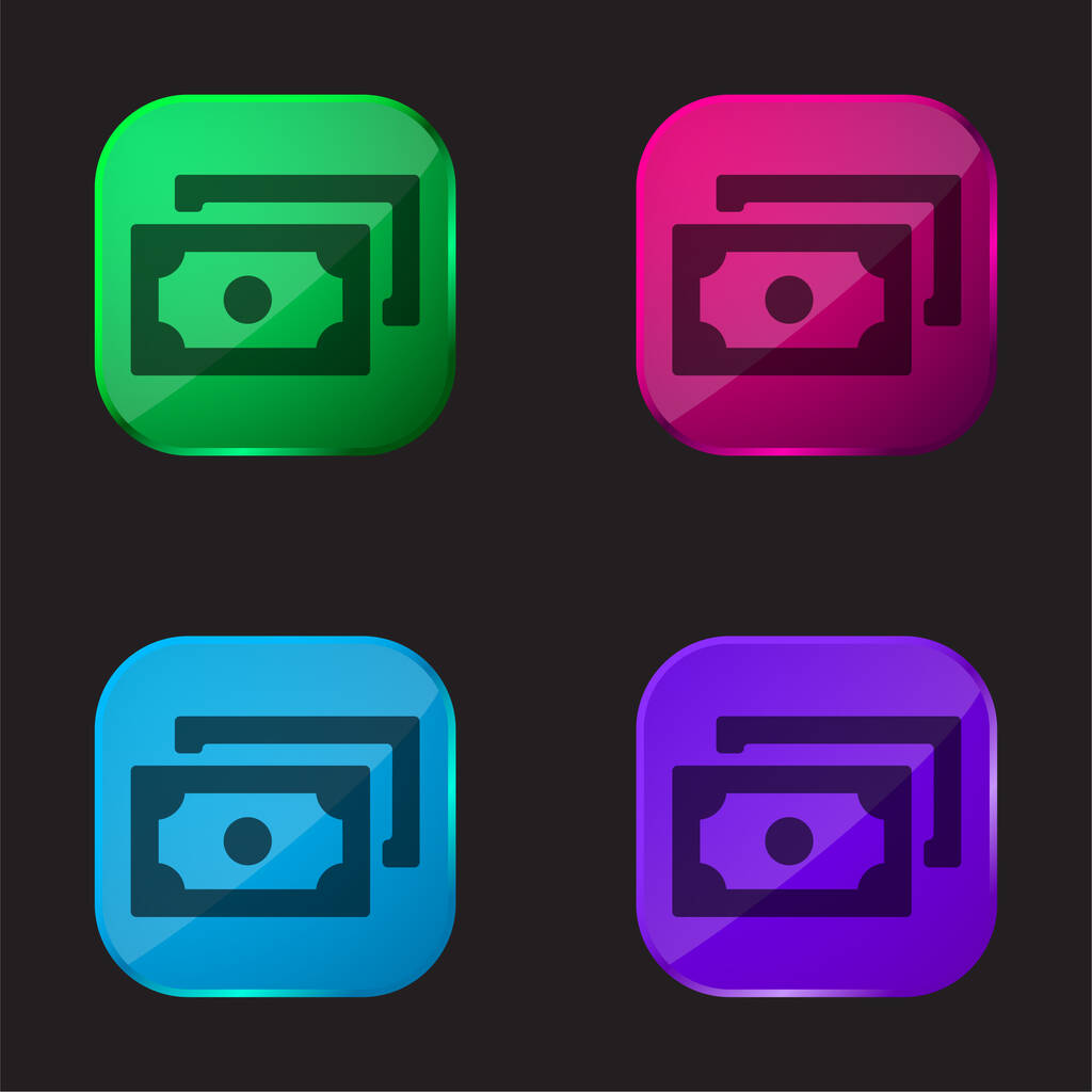 Banking Banknotes four color glass button icon