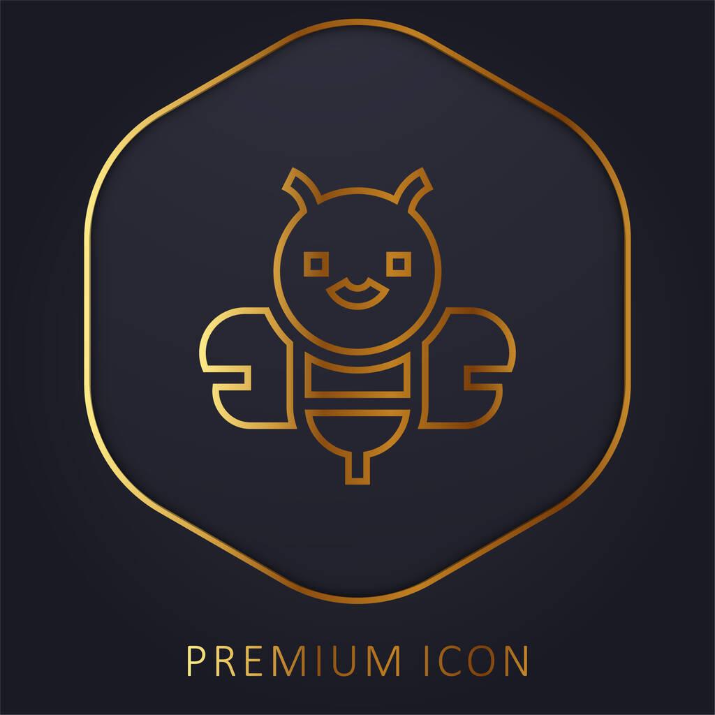 Bee golden line premium logo or icon