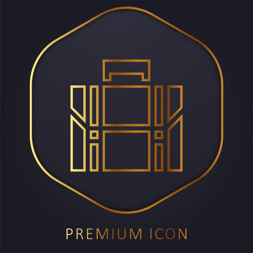 Briefcase golden line premium logo or icon