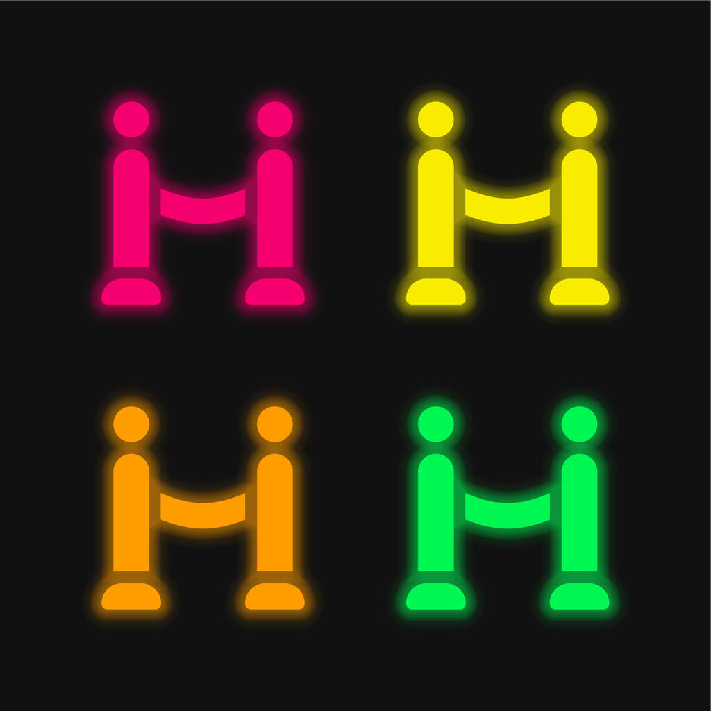Barrier four color glowing neon vector icon