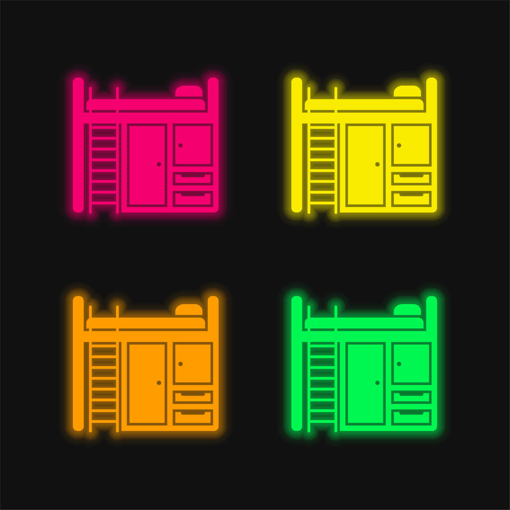 Bedroom Furniture four color glowing neon vector icon
