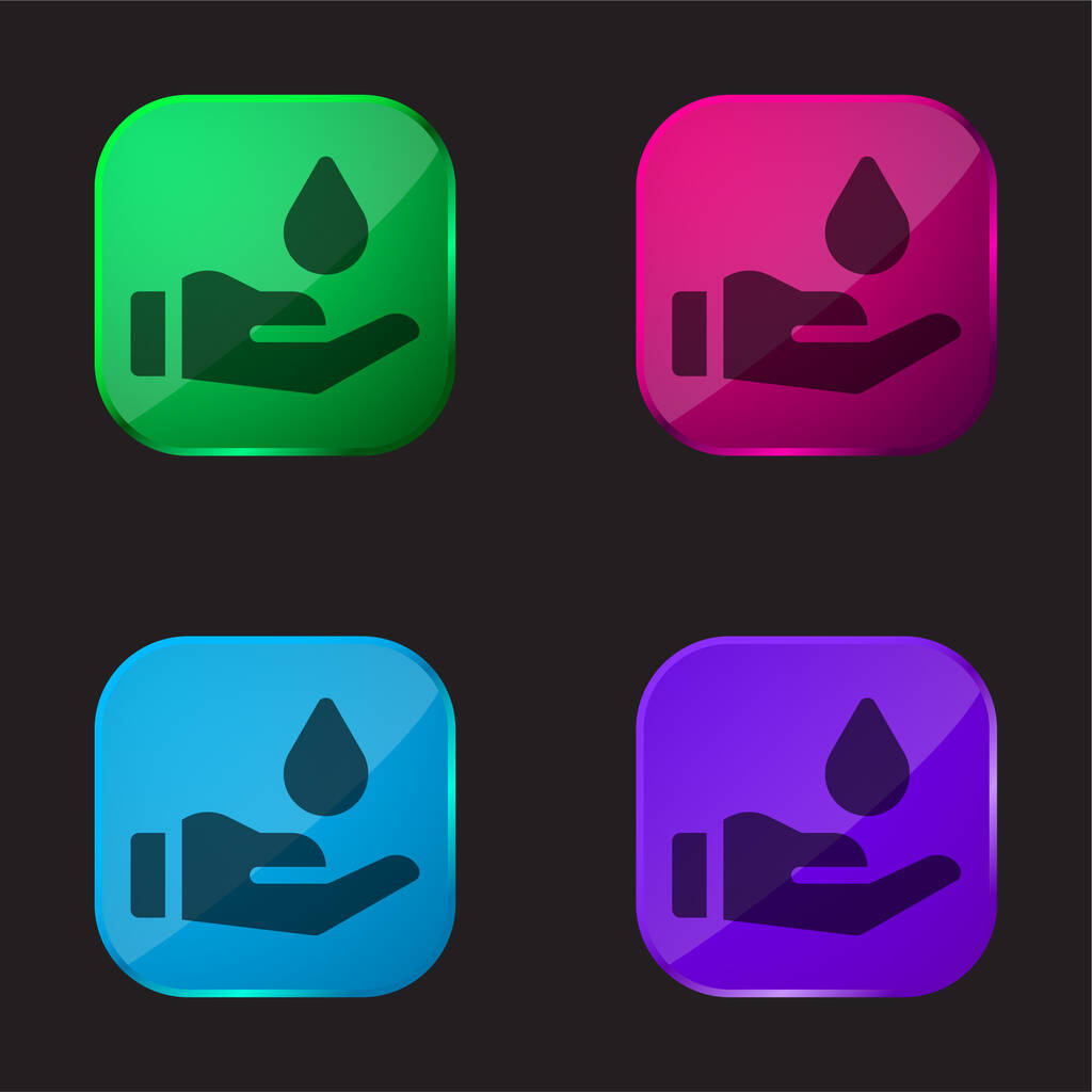 Blood Donation four color glass button icon