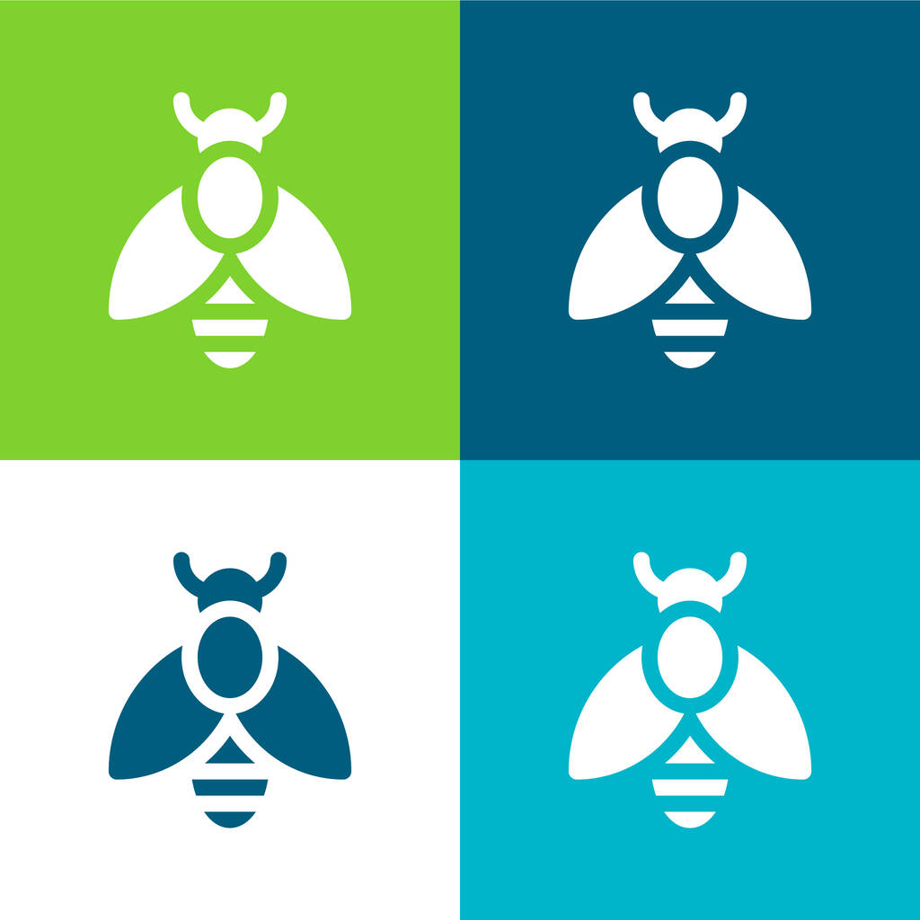Bee Flat four color minimal icon set