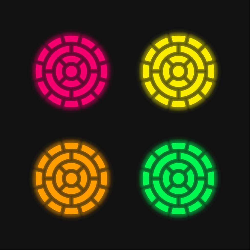 Aztec Calendar four color glowing neon vector icon