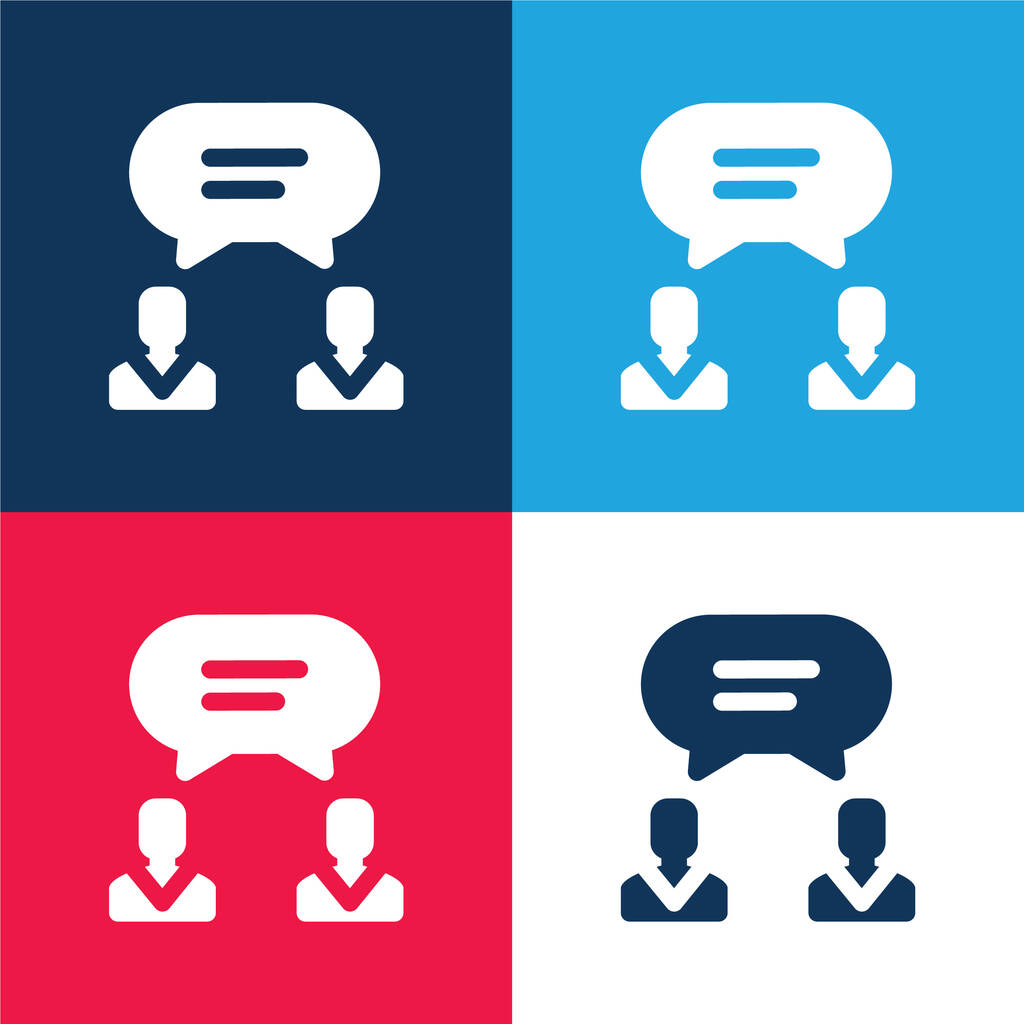 Agreement blue and red four color minimal icon set