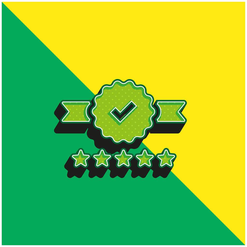 Badge Green and yellow modern 3d vector icon logo