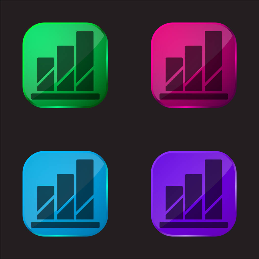 Analytics four color glass button icon