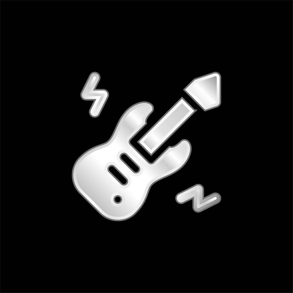 Bass Guitar silver plated metallic icon