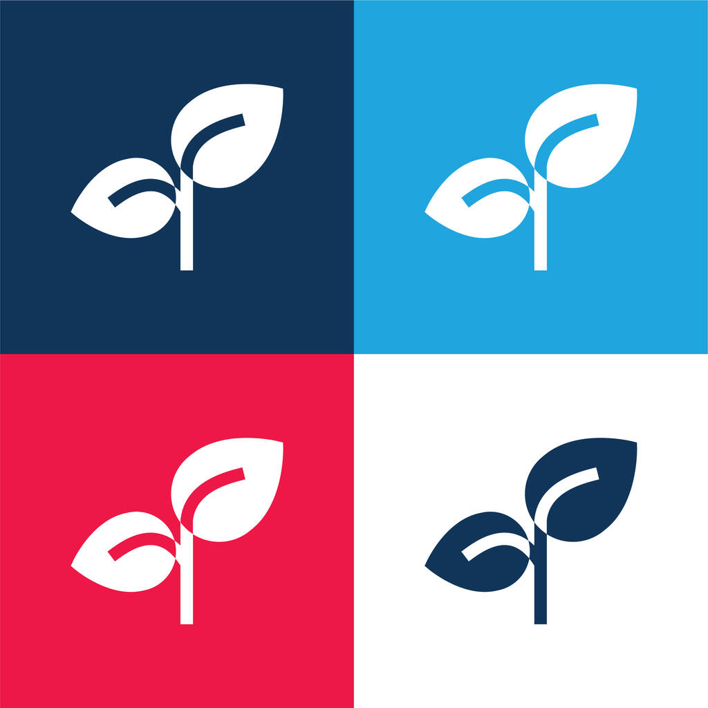 Branch blue and red four color minimal icon set