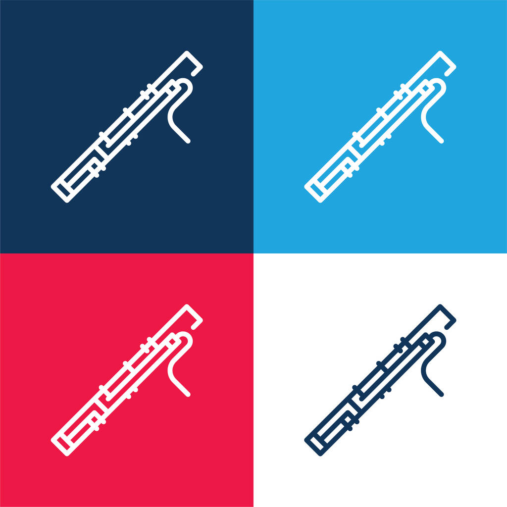 Bassoon blue and red four color minimal icon set