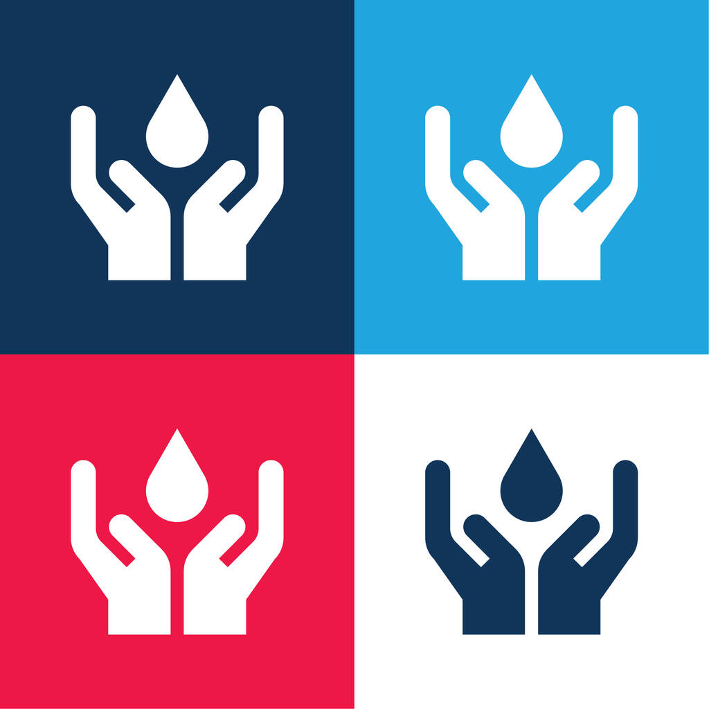 Blood blue and red four color minimal icon set
