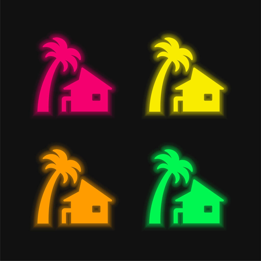 Beach House four color glowing neon vector icon