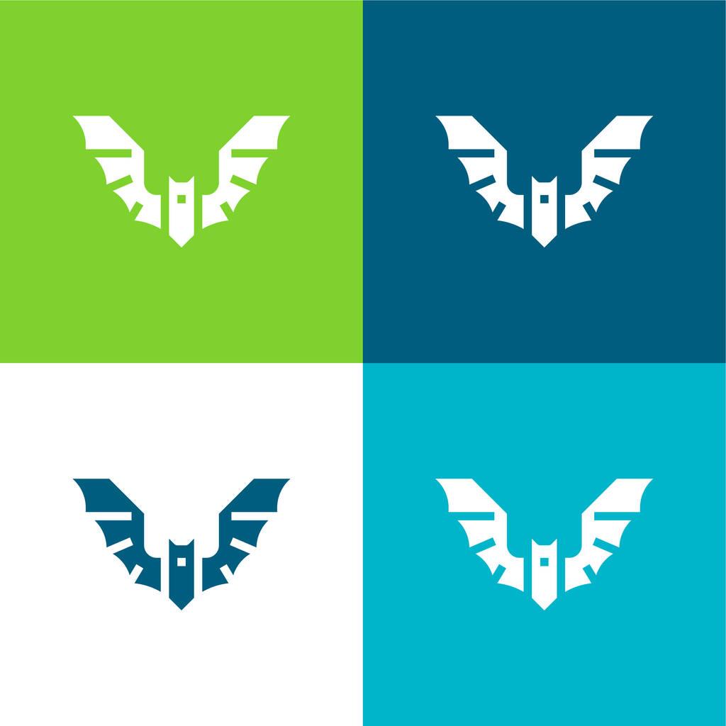 Bat Flat four color minimal icon set