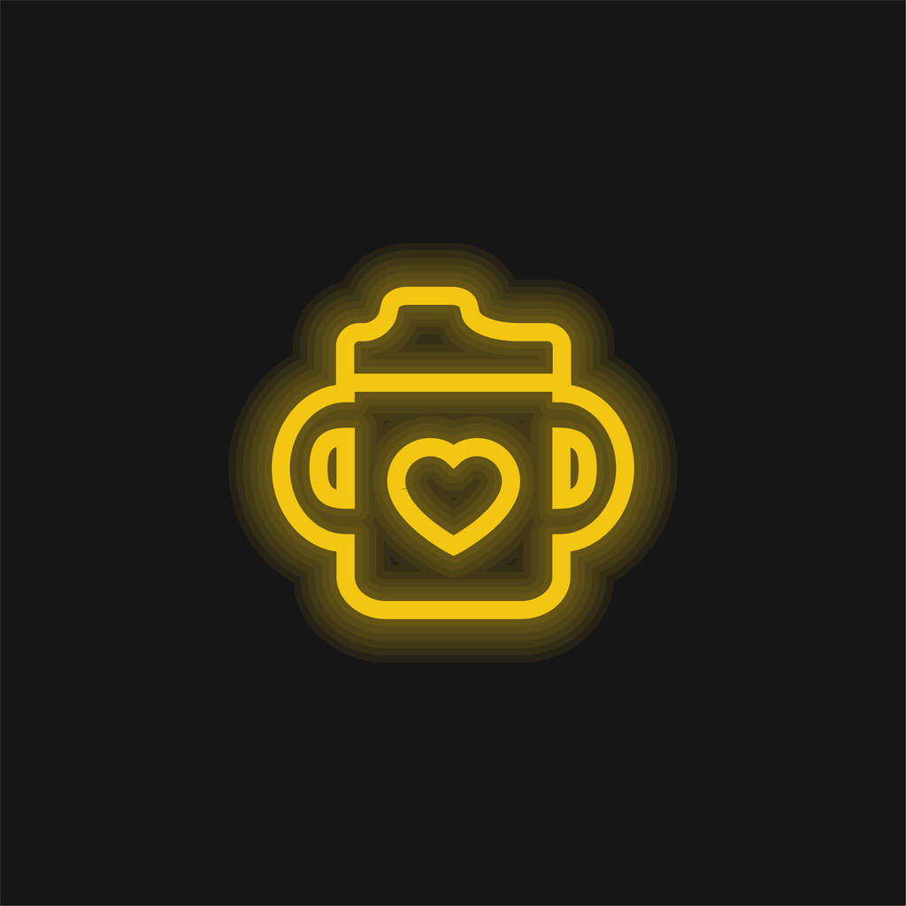 Baby Bottle With A Heart yellow glowing neon icon