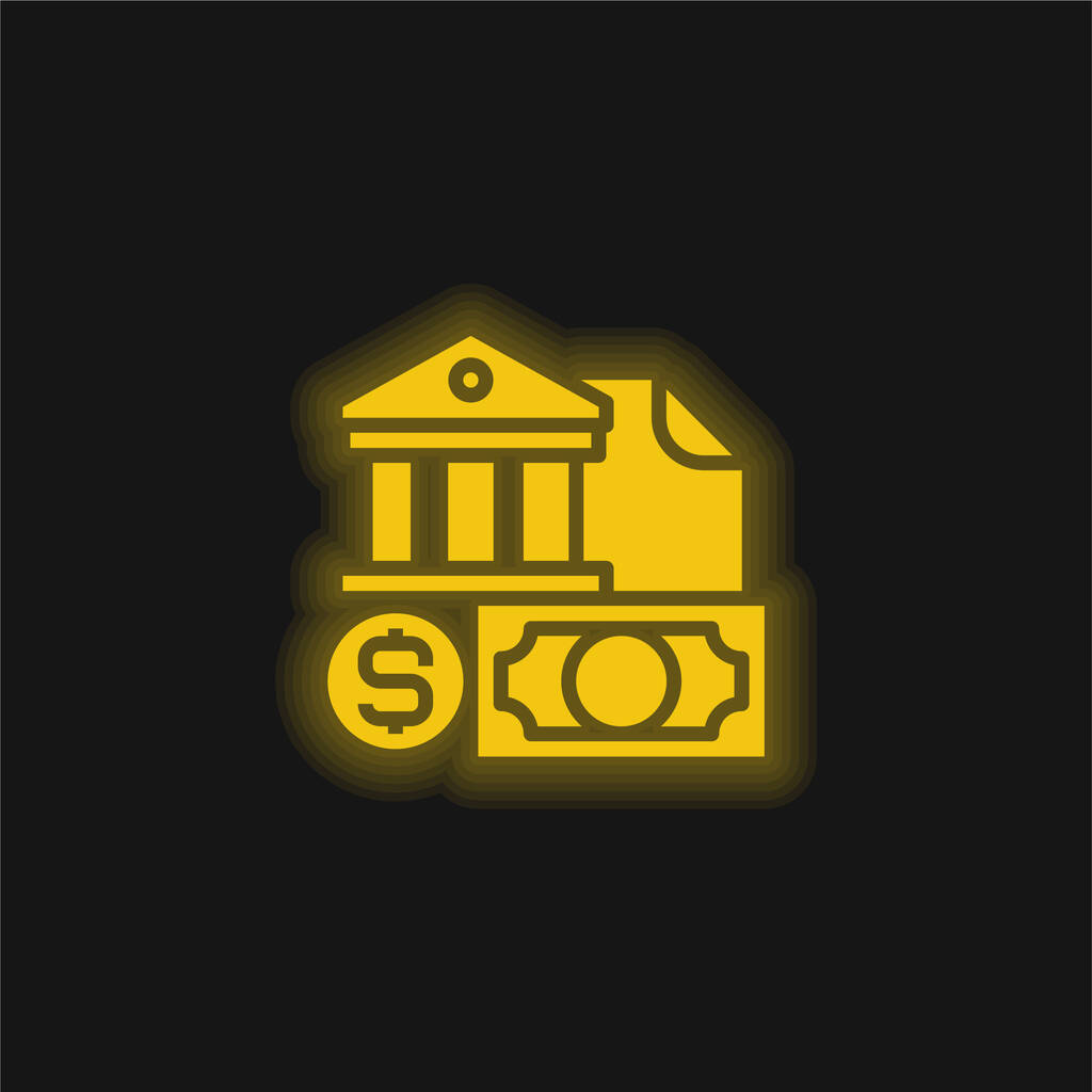 Banking yellow glowing neon icon