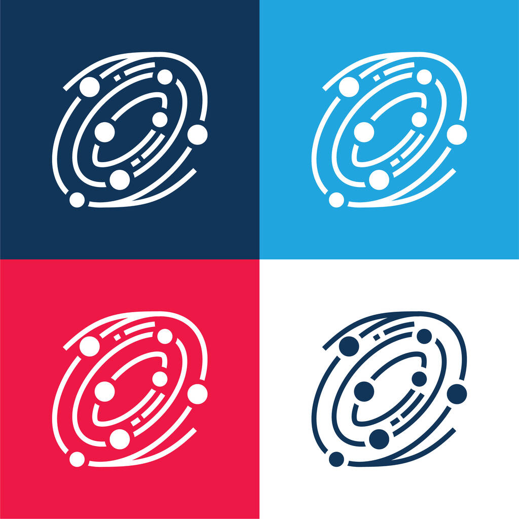 Astronomy blue and red four color minimal icon set
