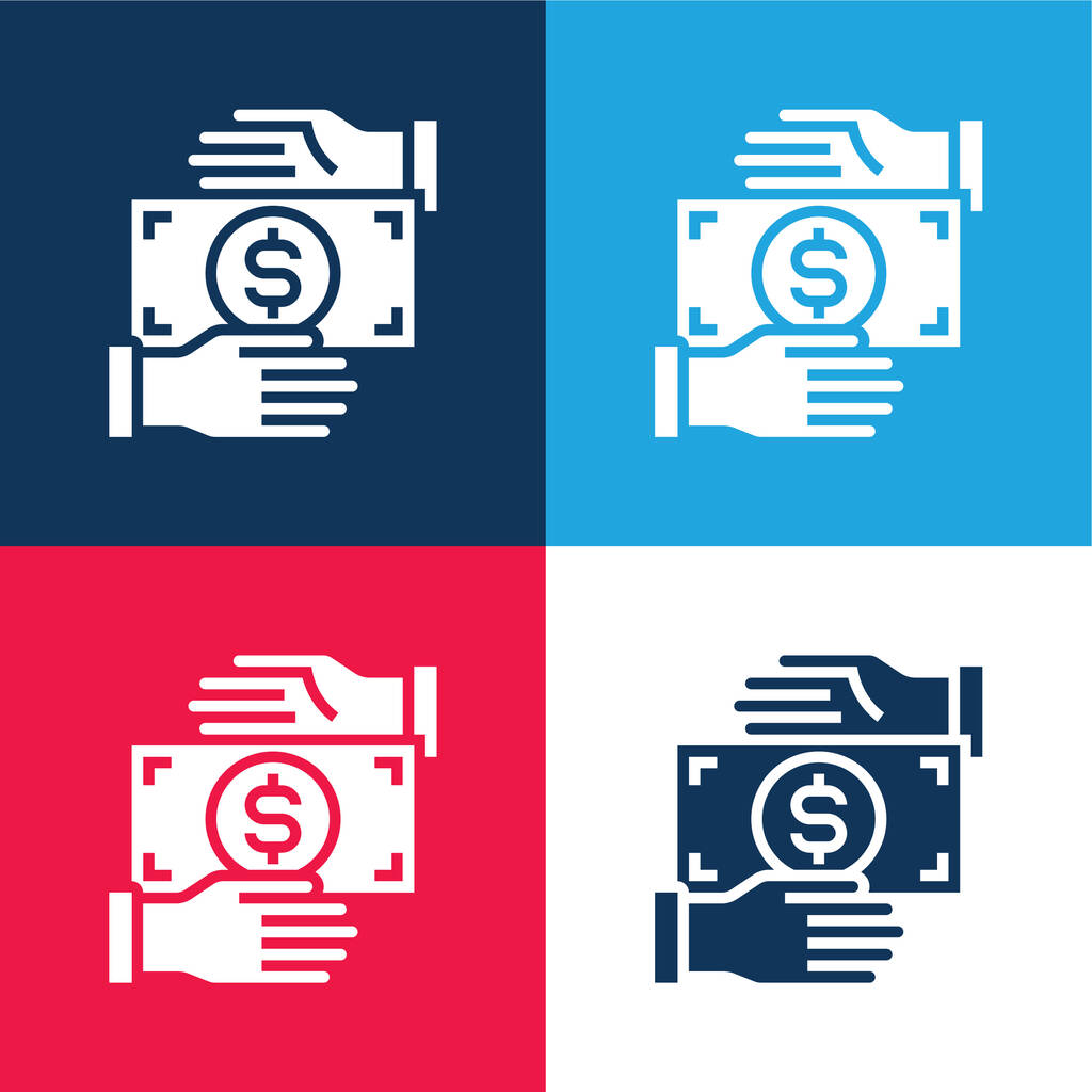 Bribery blue and red four color minimal icon set