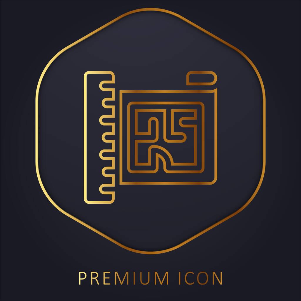 Blueprint golden line premium logo or icon
