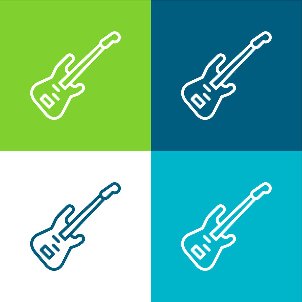 Bass Flat four color minimal icon set