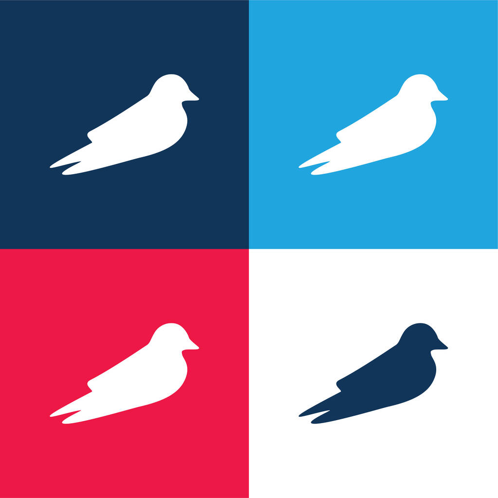 Barn Swallow blue and red four color minimal icon set