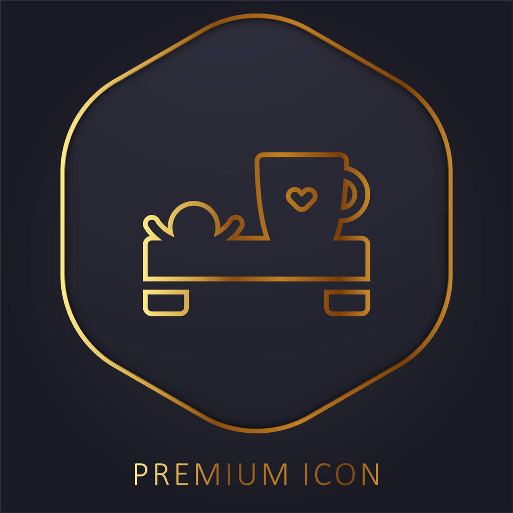 Bed And Breakfast golden line premium logo or icon