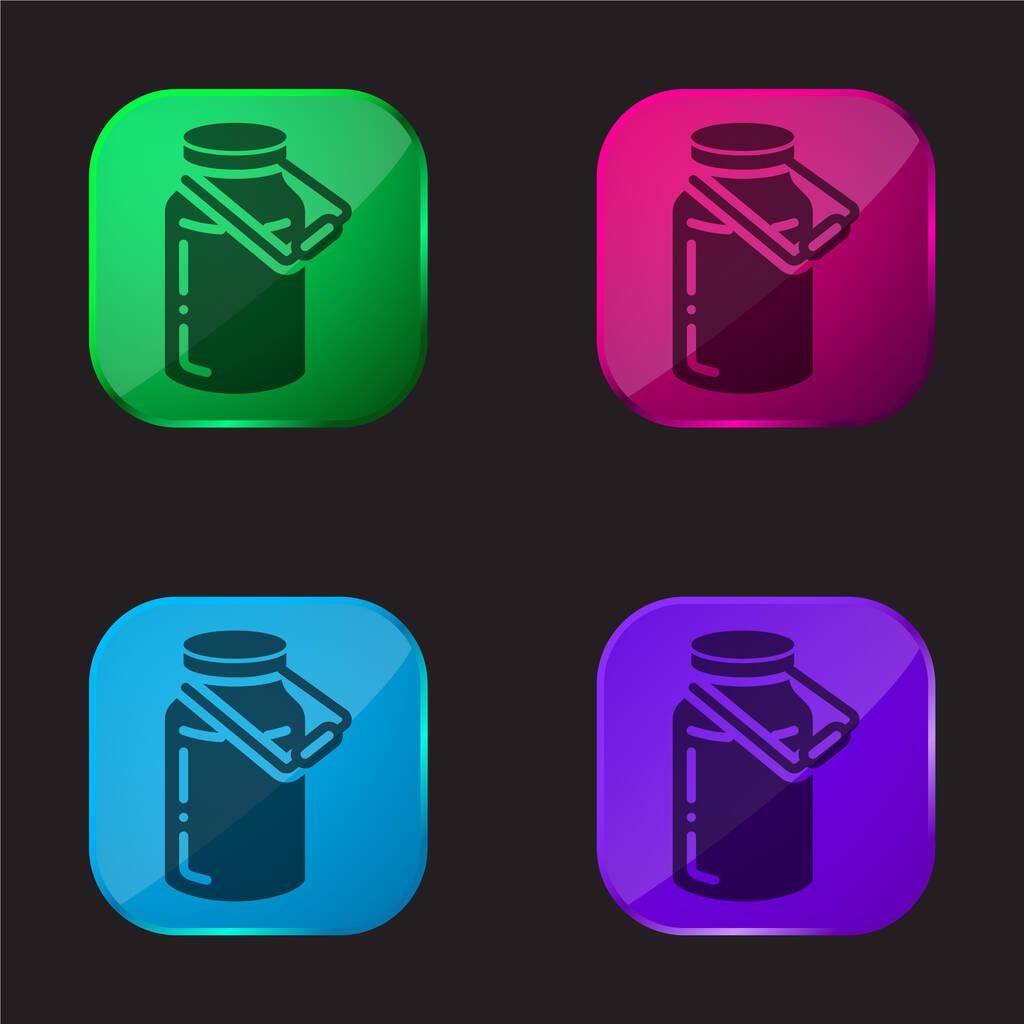 Bottle four color glass button icon