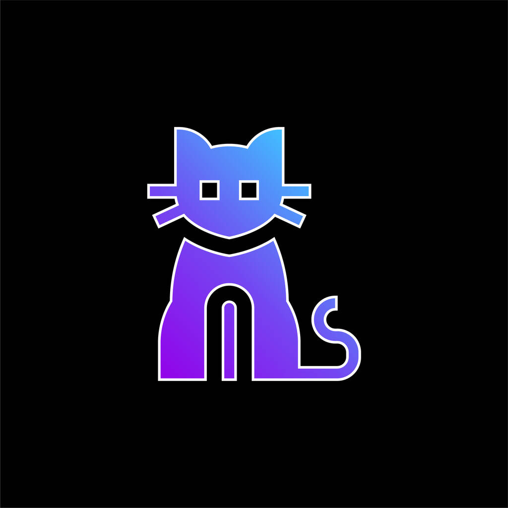 Black Cat blue gradient vector icon