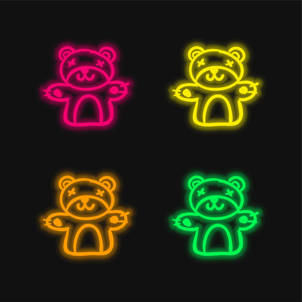 Bear Toy four color glowing neon vector icon
