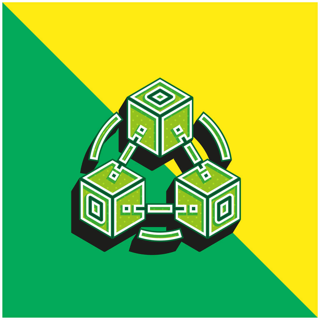 Blockchain Green and yellow modern 3d vector icon logo