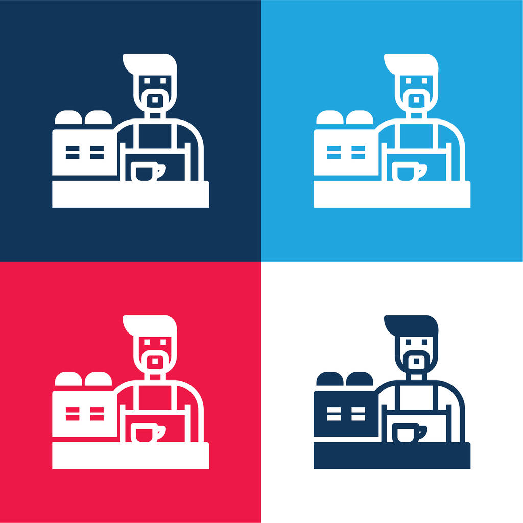 Barista blue and red four color minimal icon set
