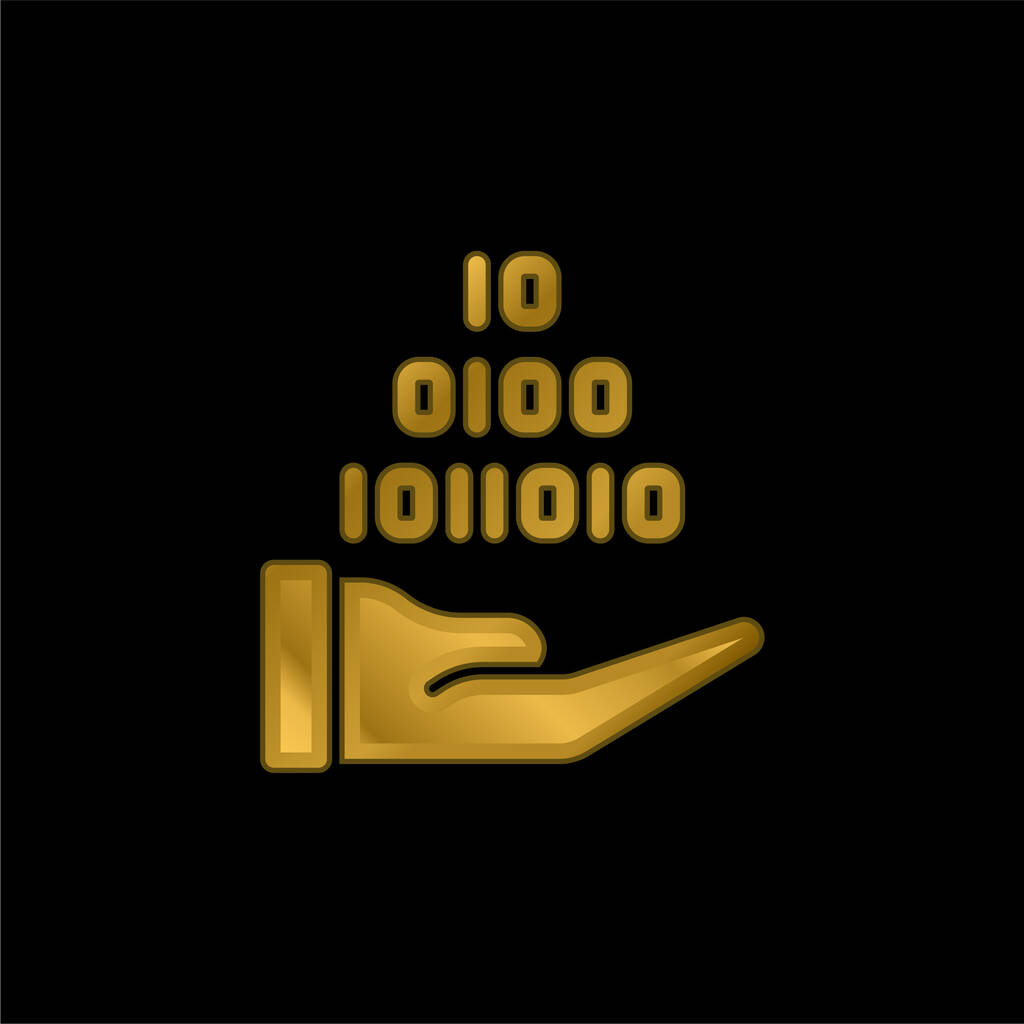 Binary Code gold plated metalic icon or logo vector