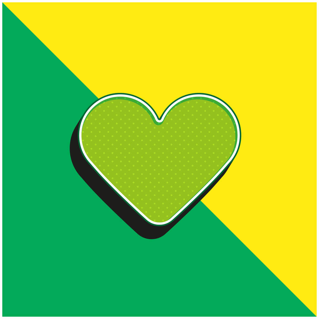 Black Heart Green and yellow modern 3d vector icon logo