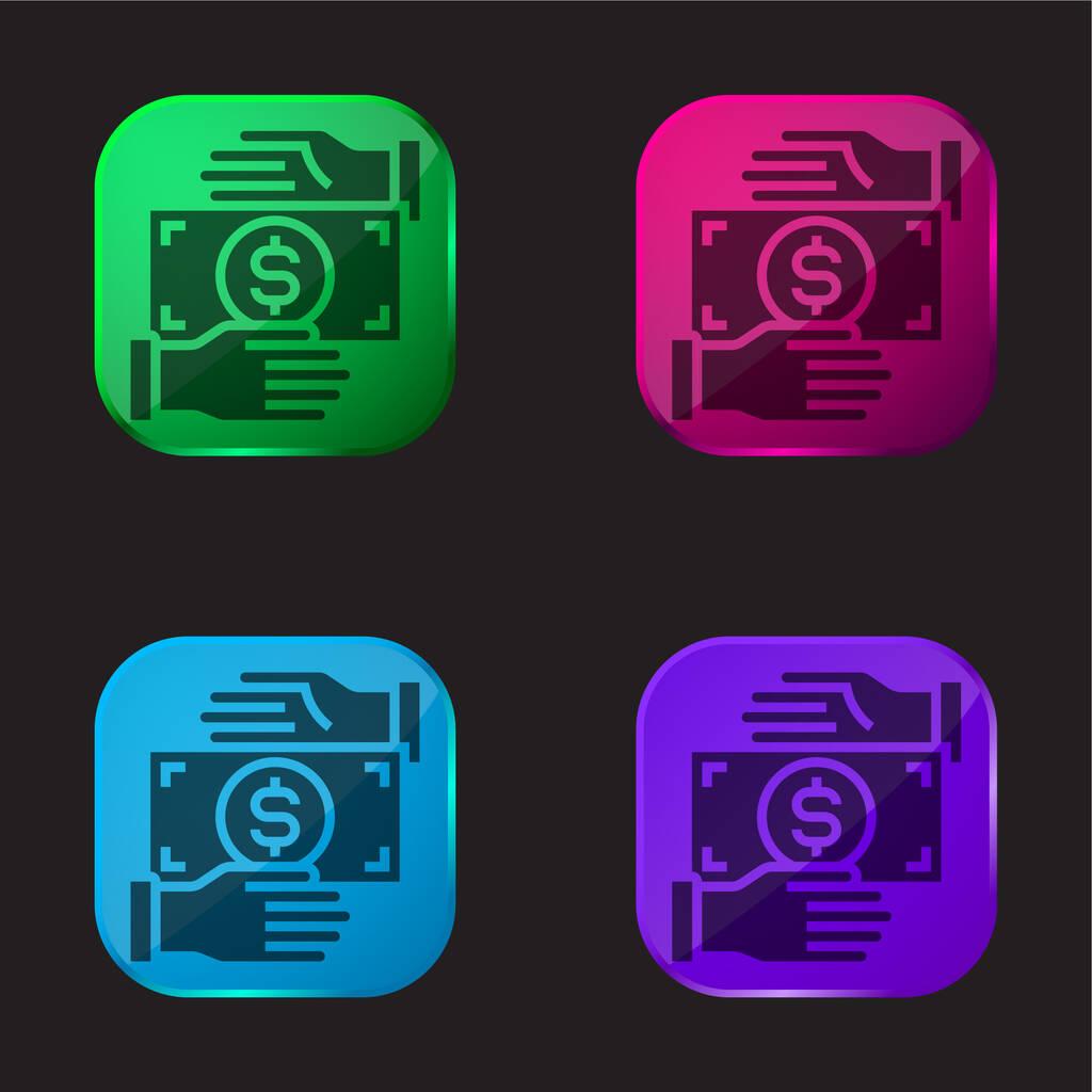 Bribery four color glass button icon