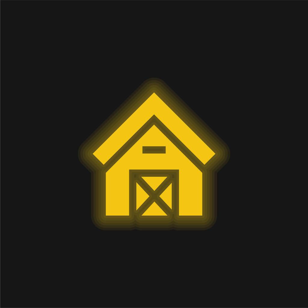 Barn yellow glowing neon icon