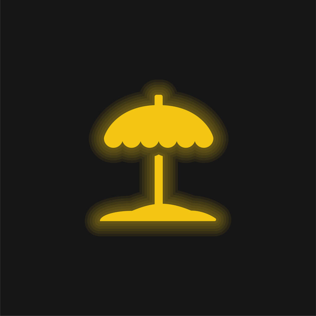 Beach yellow glowing neon icon