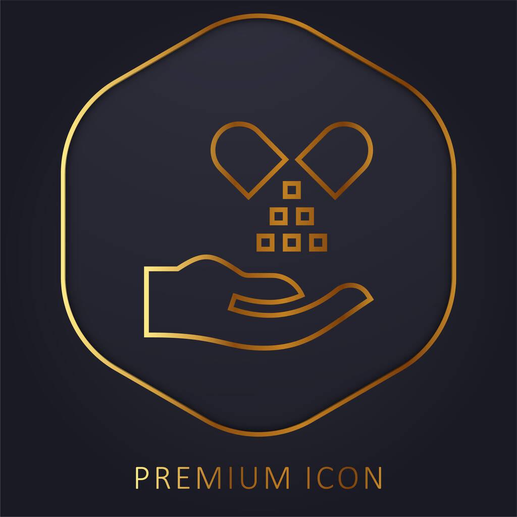 Alternative Medicine golden line premium logo or icon