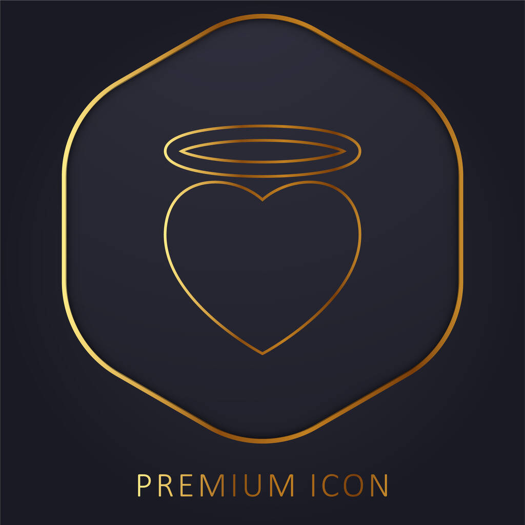 Angel Heart With An Halo golden line premium logo or icon