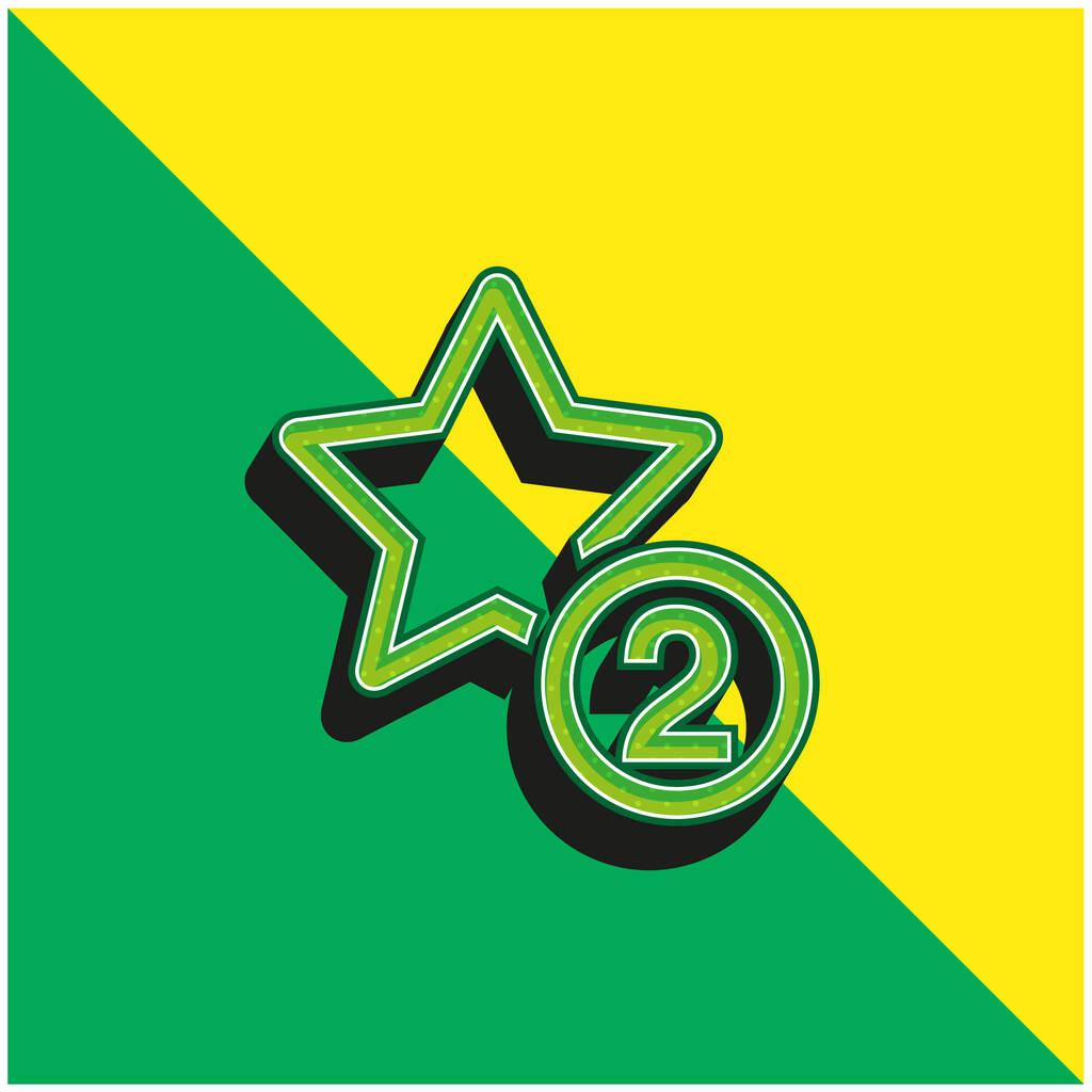 2 Stars Symbol Green and yellow modern 3d vector icon logo