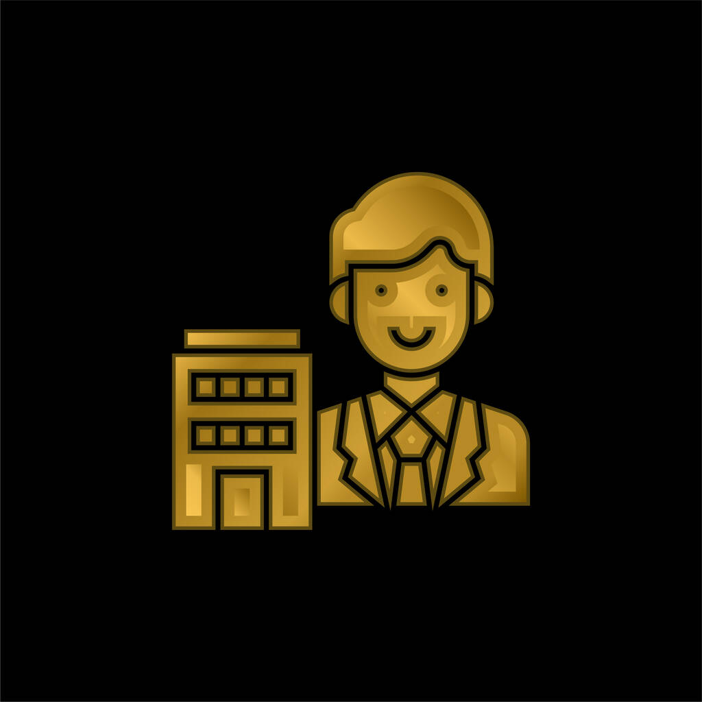 Agent gold plated metalic icon or logo vector