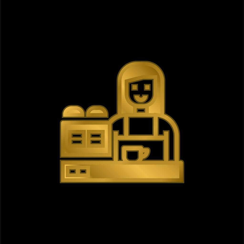 Barista gold plated metalic icon or logo vector