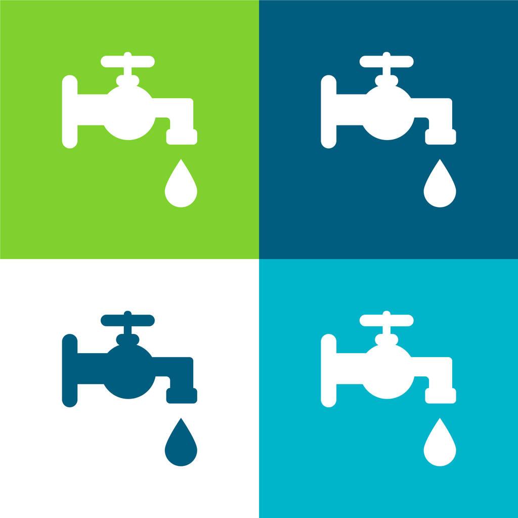Bathroom Faucet Tool Flat four color minimal icon set