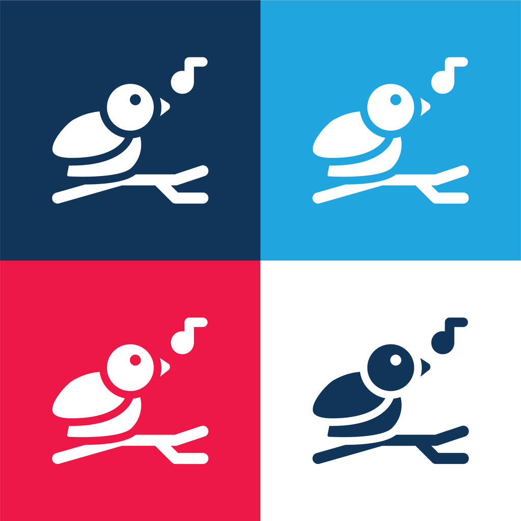 Bird blue and red four color minimal icon set