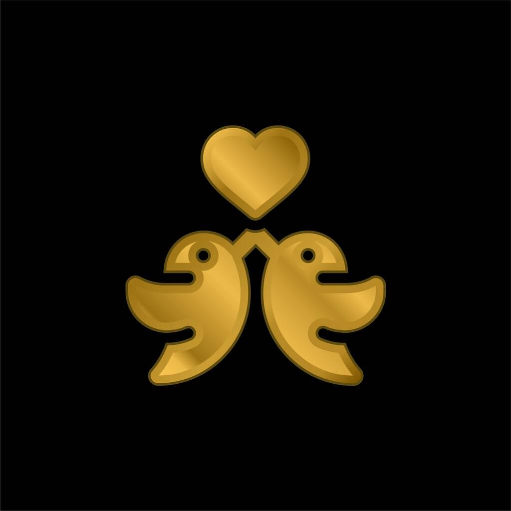 Birds gold plated metalic icon or logo vector