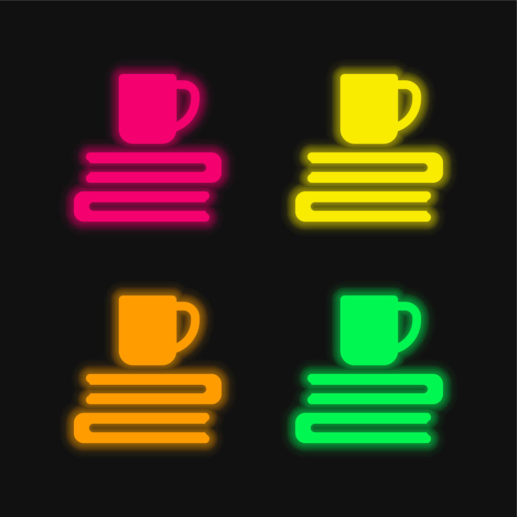 Books four color glowing neon vector icon